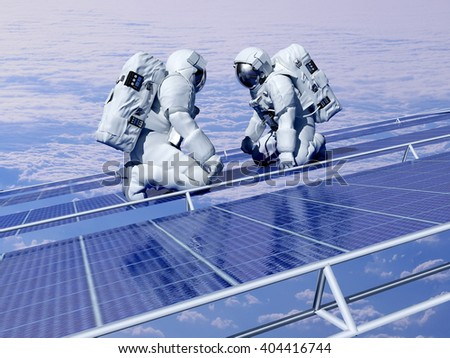 "Astronauts in space around the solar battarei.""Elemen ts of this image furnished by NASA"",3d render - stock photo"