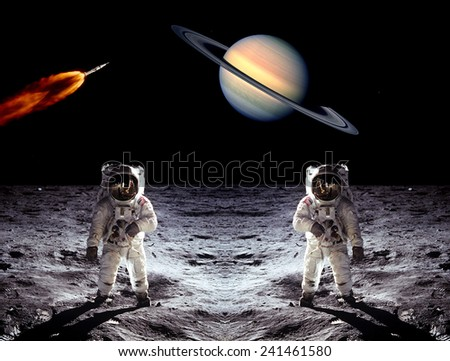 Astronauts Saturn planet spaceman rocket Moon. Elements of this image furnished by NASA. - stock photo