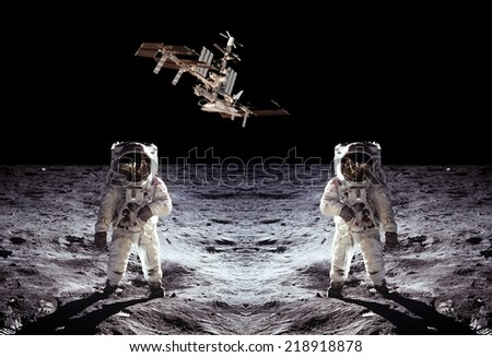 Astronauts spaceman Moon space spaceship. Elements of this image furnished by NASA. - stock photo