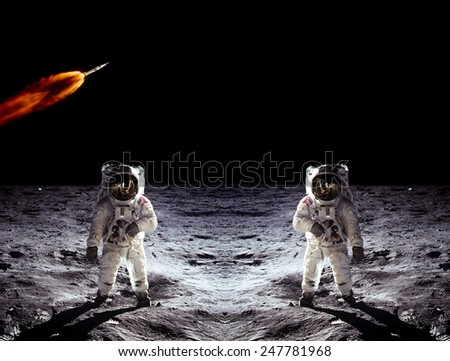 Astronauts suit spaceman Moon landing rocket shuttle space. Elements of this image furnished by NASA. - stock photo