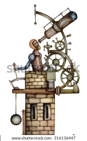 Astronomer. Vintage illustration