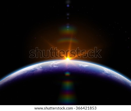 Astronomical background. Sunrise In Space