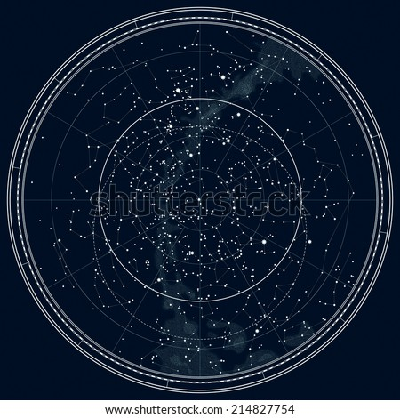 Astronomical Celestial Map of The Northern Hemisphere (Detailed Black Ink version) - stock photo