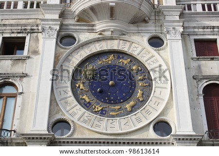 Astronomical clock at San Marco Square in Venice (Italy)
