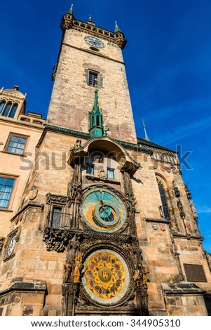 Astronomical clock at the historic City Hall Tower in Prague. - stock photo
