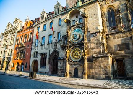 Astronomical clock in Prague, Czech Republic, Europe - stock photo