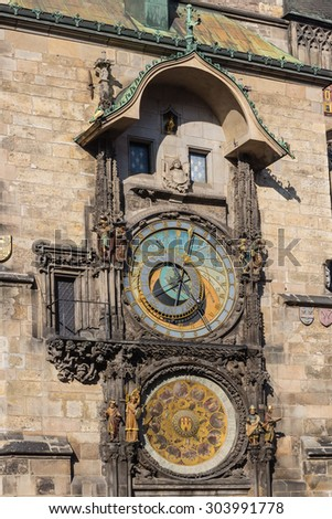 Astronomical Clock in Prague. Inscribed in UNESCO - stock photo