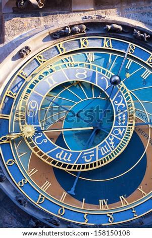 Astronomical clock in Prague, the Czech Republic, a close up - stock photo