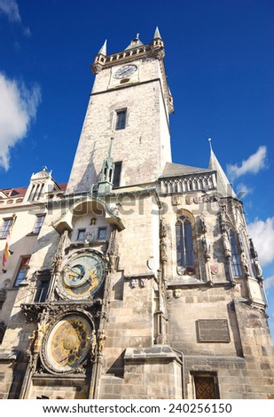 Astronomical Clock on Old Town Hall Tower in Prague, Czech Republic  - stock photo