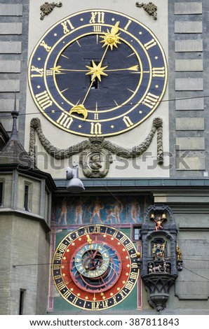 Astronomical clock on the medieval Zytglogge (Clock Tower). Bern, Switzerland, Europe