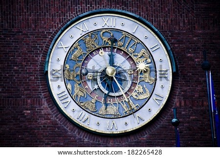 Astronomical clock on the Oslo City Hall in Oslo, Norway  - stock photo
