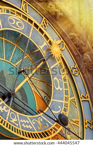 Astronomical Clock (Orloj) in Old Town of Prague closeup. Toned