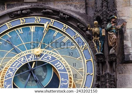 Astronomical clock Orloj in Prague, the capital of Czech Republic. - stock photo