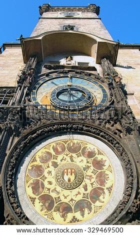 Astronomical Clock (Orloj) in the Old Town of Prague (Czech Republic) - stock photo