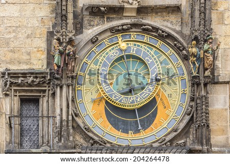 Astronomical Clock (Orloj) in the Old Town of Prague, Czech Republic. Orloj) was installed in 1410. Four figures flanking clock are set in motion at the hour. - stock photo