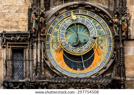 Astronomical Clock (Orloj) in the Old Town of Prague, Czech Republic. Orloj was installed in 1410. Four figures flanking clock are set in motion at the hour.
