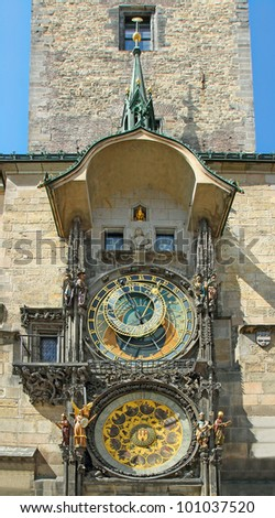 Astronomical Clock Prague, historical center of Prague,  Czech Republic, World Heritage Site by UNESCO - stock photo
