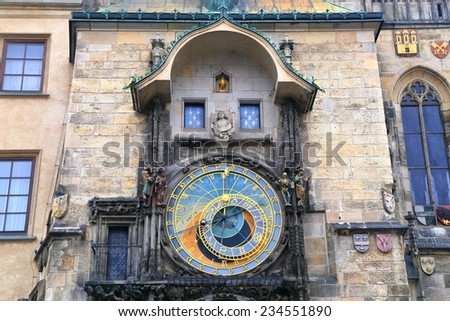 Astronomical Clock set on a building in the Prague Old Town, Czech Republic - stock photo