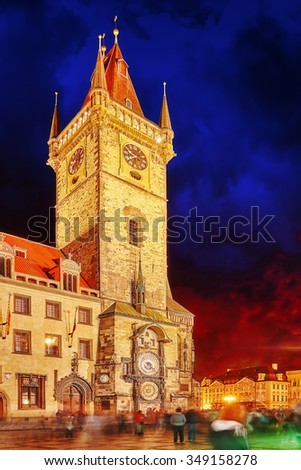 Astronomical Clock(Staromestske namesti)on historic square in the Old Town quarter of Prague, the capital of the Czech Republic. It is located between Wenceslas Square and the Charles Bridge. - stock photo