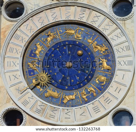 Astronomical Clock Tower. St. Mark's Square (Piazza San Marko), Venice, Italy. - stock photo