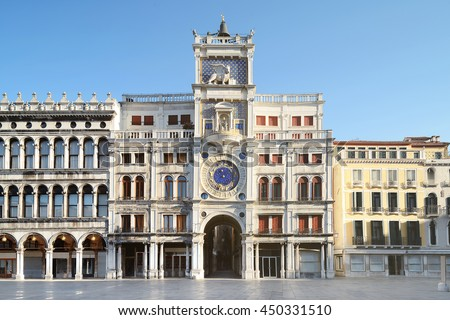 Astronomical clock tower with zodiac signs on Piazza San Marco in Venice, Italy