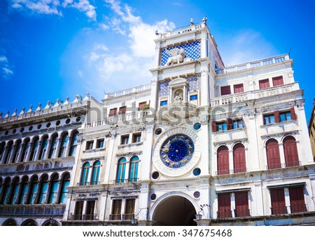 Astronomical clock tower with zodiac signs.Venice, Italy - stock photo