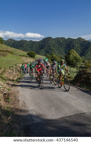 "ASTURIAS, SPAIN. September 07th 2015. A small group of cyclists climbing to Ermita del Alba in the last meters of the 16th stage of ""La Vuelta"""