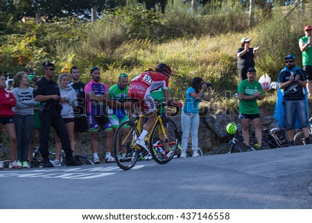 "ASTURIAS, SPAIN. September 07th 2015. Stephane Rossetto climbing to Ermita del Alba in the last meters of the 16th stage of ""La Vuelta"""