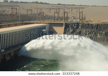Aswan High Dam - Aswan - Egypt - stock photo