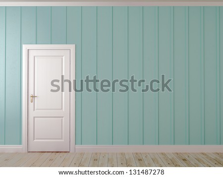 Asymmetrical composition with white door on the blue wall with vertical decor - stock photo