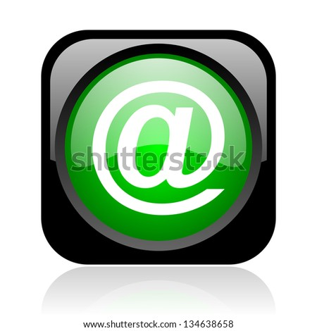 at black and green square web glossy icon