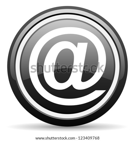 at black glossy icon on white background - stock photo