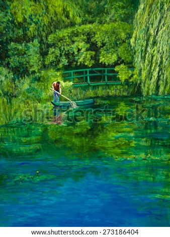 At Claude Monet's water lily pond, a gardener skims leaves from the water.