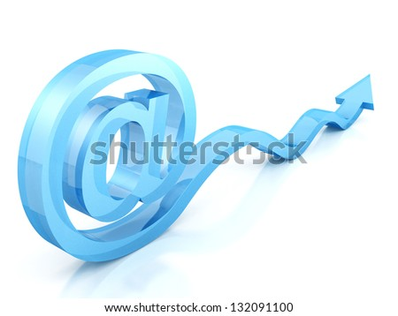 at e-mail glass symbol with blue arrow