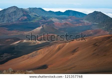 At Haleakala crater in Haleakala National Park, Hawaii - stock photo