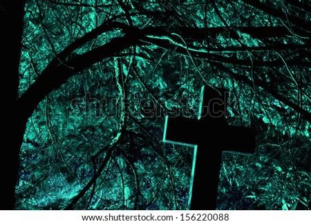 at night at the graveyard - stock photo