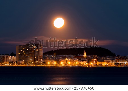 At night in the Costa Brava,Palamos (Spain) - stock photo