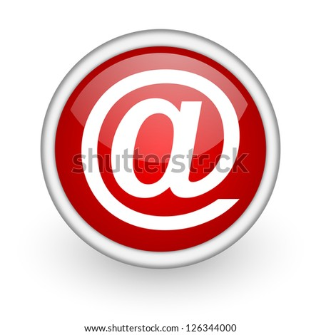 at red circle web icon on white background - stock photo