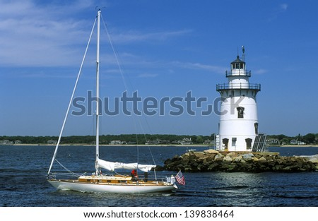 At Saybrook Breakwater Lighthouse in Connecticut, during the hurricane of 1938, most everything including a 1,500-gallon tank was swept away except the tower itself, which still exists today. - stock photo