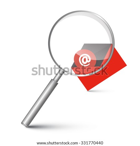 At Sign in Red Envelope - Email Icon with Magnifying Glass Illustration - stock photo