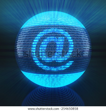 At sign on globe formed by binary code, 3d render - stock photo