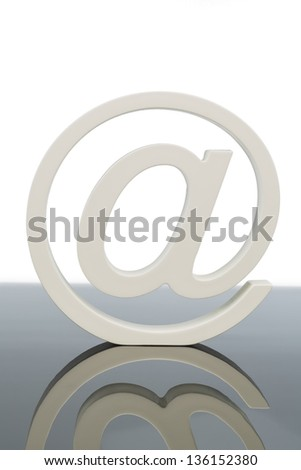 at sign, symbol photo for email, internet and global communication online - stock photo