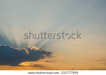 At sunset sky background - stock photo