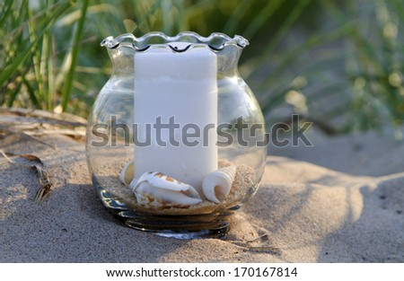 At the Beach -- Decorative objects highlight this beach seen on one of Michigan's finest sand beaches. Holland, Michigan, USA. - stock photo