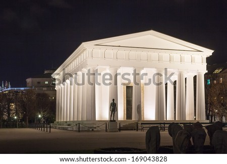 At the center of the park stands the neoclassical Theseus Temple, completed in 1821. This small-scale replica of the Temple of Hephaestus in Athens - stock photo