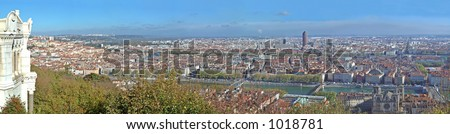 At the confluence of the Saône and Rhône rivers, Lyon (France)  has been listed as part of UNESCO's World Heritage since 1998. - stock photo