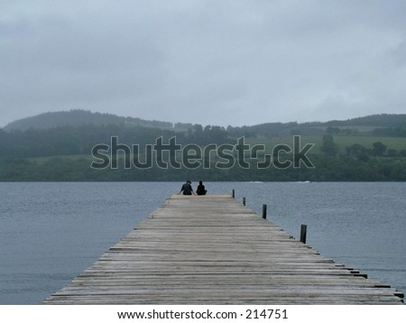 at the end of the pier - stock photo