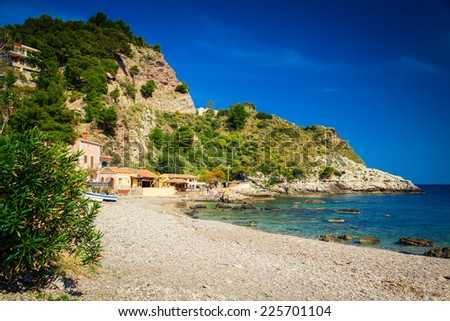 at the famous beach Isola Bella in Sicily, Italy - stock photo