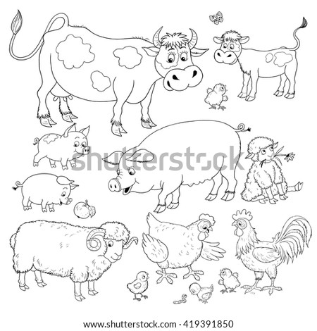 At the farm. Small set of cute farm animals. Cow, calf, pigs, sheep, hen, rooster and chicks. Illustration for children. Coloring book. Coloring pages. Funny cartoon characters isolated on white.  - stock photo