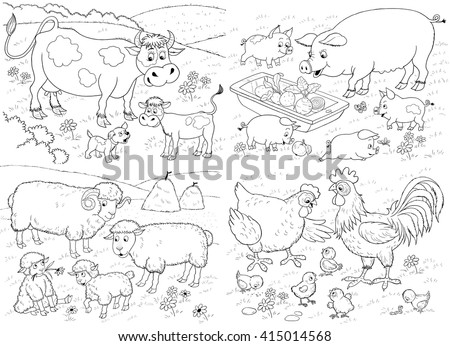 At the farm. Small set of cute farm animals with their babies. Cow, pig, sheep, hen and rooster. Illustration for children. Coloring book. Coloring page. Funny cartoon characters.  - stock photo